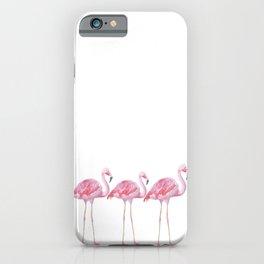 Flamingo - Pink Bird - Animal On White Background iPhone Case