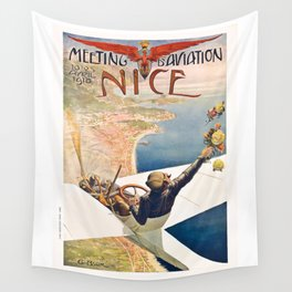 1910 Nice France Meeting D'Aviation Advertising Poster Wall Tapestry