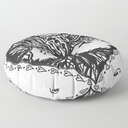 """""""The Tree of Hearts"""" Hand-Drawn by Dark Mountain Floor Pillow"""