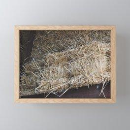 Hay Bales in Barn Framed Mini Art Print