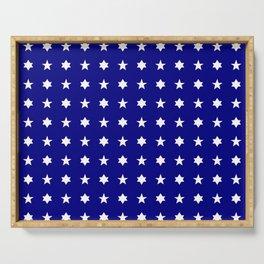 stars 84 - dark blue and white Serving Tray