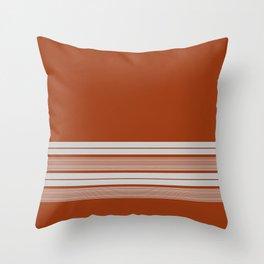 Retro Orange Grey Stripes Throw Pillow