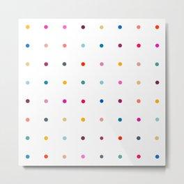 Rainbow polka dot pegboard Metal Print