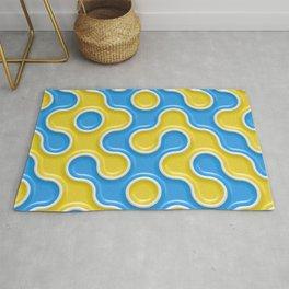 Yellow Blue Truchet Tilling Pattern Rug