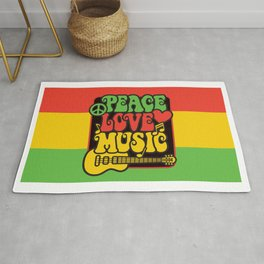 Rasta Peace Love Music Rug