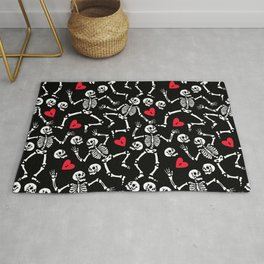 Skeleton in love at the party Rug