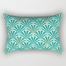 Art Deco Fan Pattern Turquoise on Aqua Rectangular Pillow