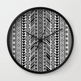 Black and White Adinkra Symbol African Print Pattern Wall Clock