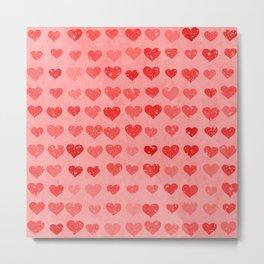 Pink Valentines Love Hearts Metal Print