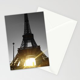 Paris Eiffel tower black and white with color GOLD Stationery Cards