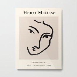 Exhibition poster Henri Matisse-Nadia au menton pointu. 1948 Metal Print