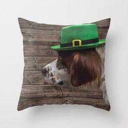 Irish Setter in Green Leprechaun Hat Throw Pillow