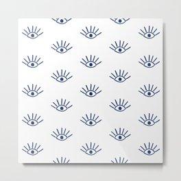Navy Evil Eye Pattern Metal Print