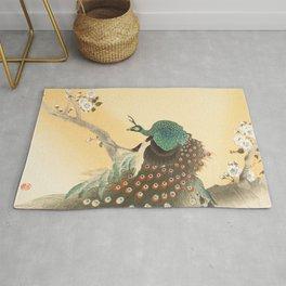 Peacock On A Cherry Tree - Vintage Japanese Woodblock Print Rug