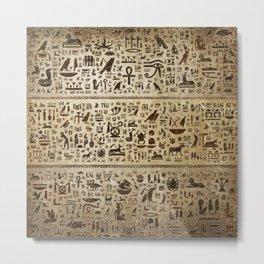 Ancient Egyptian hieroglyphs - Vintage and gold Metal Print