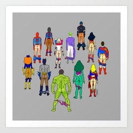 Superhero Butts - Power Couple on Grey Kunstdrucke