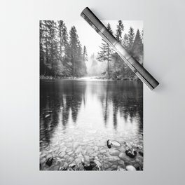 Forest Reflection Lake - Black and White  - Nature Photography Wrapping Paper