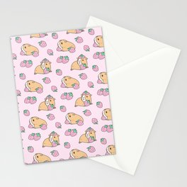 Pink Strawberries and Guinea pig pattern Stationery Cards