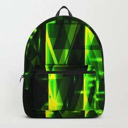 Luxurious green stripes and metallic triangles of blades of grass create abstraction and glow. Backpack
