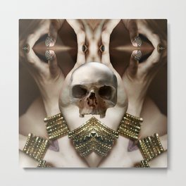 Skull Magician Metal Print