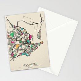 Colorful City Maps: Newcastle, Australia Stationery Cards