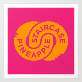 Pineapple Staircase  |  Official Logo in Pink/Orange Art Print