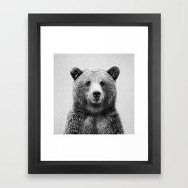 Grizzly Bear - Black & White Framed Art Print