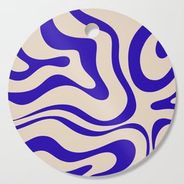 Modern Liquid Swirl Abstract Pattern Square in Indigo Blue Cutting Board
