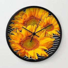 YELLOW SUNFLOWERS BLACK-GREY WAVE ART Wall Clock