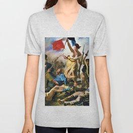 Eugene Delacroix - Liberty Leading The People - Digital Remastered Edition Unisex V-Neck