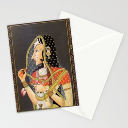 Bani Thani female portrait painting in traditional Rajasthani, the Mona Lisa of India  Stationery Cards