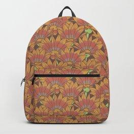 Orange and Red Gazania Flower Pattern Backpack