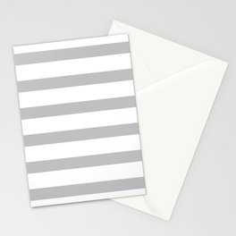 Silver Gray Stripes on White Background Stationery Cards