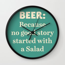Beer illustration quote, vintage Pub sign, Restaurant, fine art, mancave, food, drink, private club Wall Clock