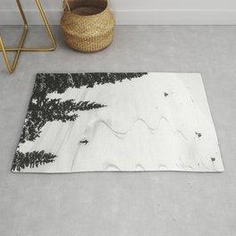 Backcountry Skier // Fresh Powder Snow Mountain Ski Landscape Black and White Photography Vibes Rug