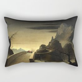 Franz Sedlacek - Mountain Landscape with Automobile - Gebirgslandschaft mit Automobil Rectangular Pillow