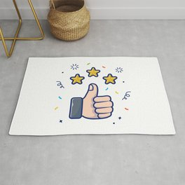 Thumbs Up With Golden Stars Illustration Review Give Feedback Reward Icon Concept White Isolated Rug