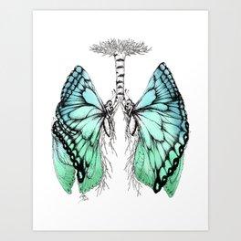 Butterfly Lungs Blue Green Art Print