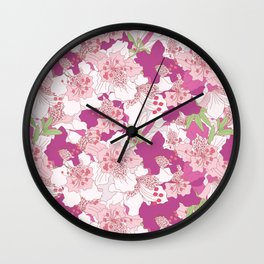 Rhododendron flowers cluster collage pattern Wall Clock