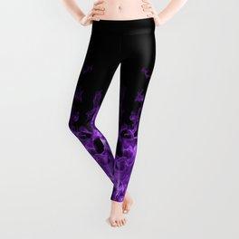 Purple Flames on black Leggings