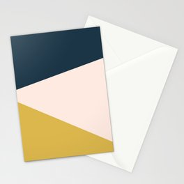 Jag 2. Minimalist Angled Color Block in Navy Blue, Blush Pink, and Mustard Yellow Stationery Cards