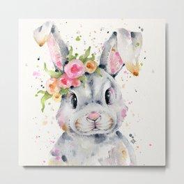 Little Miss Bunny Metal Print