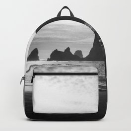Haystack Rock in Black and White - Cannon Beach, Oregon Film Photo Backpack