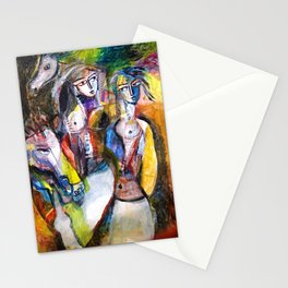 Two Woman and Horses, nude figurative portrait painting Stationery Cards