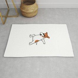 Dabbing Jack Russell Dog. Funny, cool dancing puppy. Dab dance. Cartoon dog. Rug