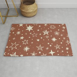 Rust and Cream Star Pattern Rug