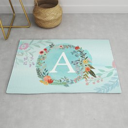 Personalized Monogram Initial Letter A Blue Watercolor Flower Wreath Artwork Rug