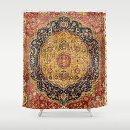 Indian Boho III // 16th Century Distressed Red Green Blue Flowery Colorful Ornate Rug Pattern Shower Curtain