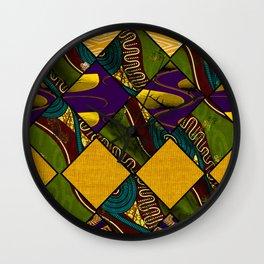 Earthy Mardi Gras African Print Wall Clock
