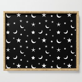 Black and White moon and star pattern Serving Tray